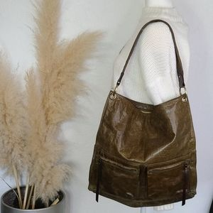 Nino bossi moss green leather bag